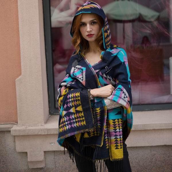Women Winter Bohemian Hooded Coat Cape Wrap Poncho Shawl Scarf Ethnic Tassel Tribal Fringe New Hoodie