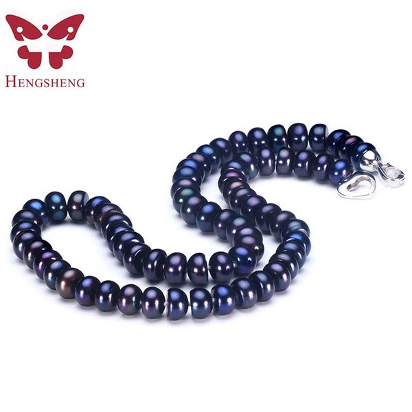 Classic Black Natural Freshwater Pearl Necklace 7-8mm 8-9mm Silver 925 Noble High Luster Real Pearl Jewelry Hot Selling 45/50cm
