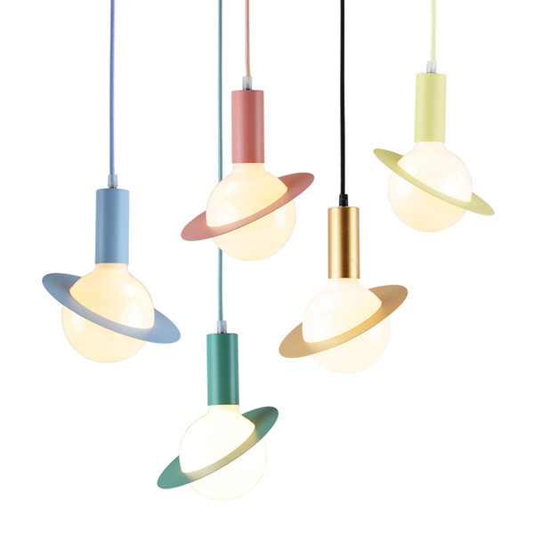 Creative modern simple LED pendant lights colorful macaron droplight colroful sweet lovey color kids room bedroom restaurant chandelier lamp