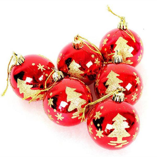 Novas 30 peças de natal suprimentos luz Vermelha folha de ouro com pintura pintada bola de natal, decoração da árvore de natal