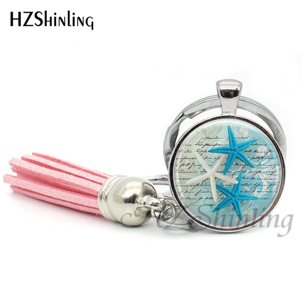 Fashion Sea Turtle Tassel Keychain Sea Life Keyring Glass Cabochon Key Chain Silver Handcraft Jewelry Gifts Women Men