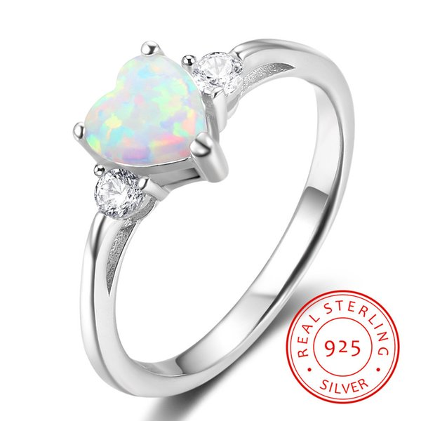 Classic Eternal Heart White Opal Rings for Women Real Pure 925 Sterling Silver Jewelry Engagement Finger Rings