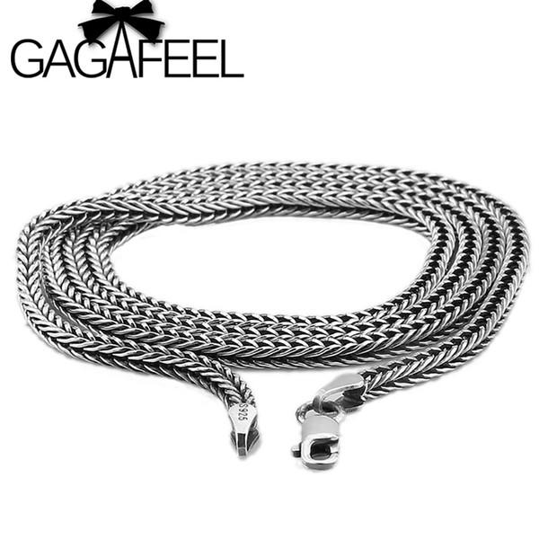 Оптовая 100% реальный чистый стерлингового серебра 925 ожерелье 2.8 мм толщиной цепи мужчины подарок тайский серебро длинное ожерелье бесплатная доставка LHYC13