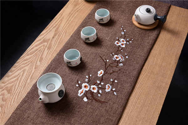 Elegant Embroidery Cotton Linen Coffee Table Runner Plum blossom Modern Table Cloth Rectangular Dining Table Mat Protection Pad 200 x 33 cm