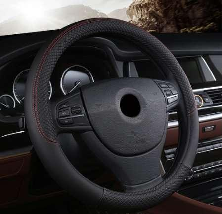 Volant de voiture 38cm en cuir cousu à la main en cuir PU Dermay Couverture de volant de voiture Fit pour la plupart des voitures Styling
