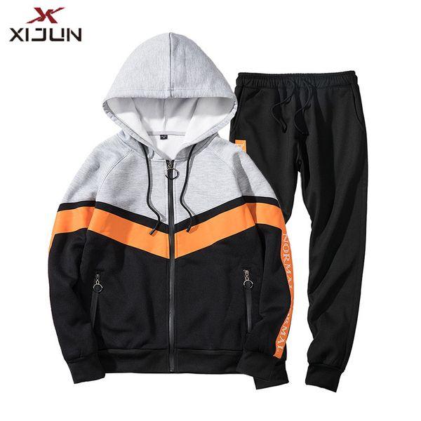 Xijun Güz Kış Erkekler Hoodies ve pantolon Setleri Gençlik Kazak Adam Sporting Hoody Eşofman Suits Casual Pantolon Jogger Pantolon