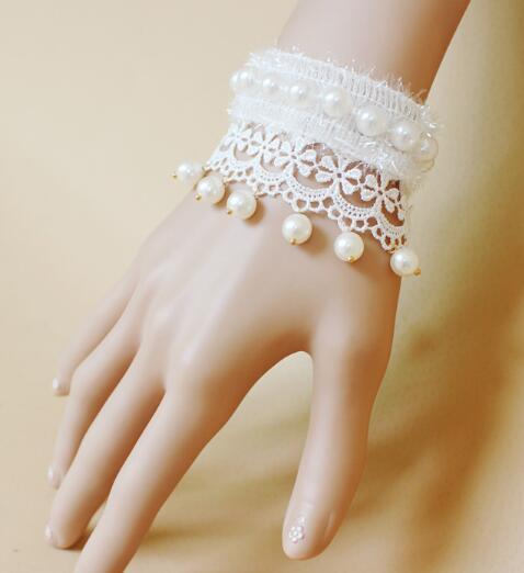 chaude nouvelle mariée européenne et américaine noble ornements dentelle blanche perle bracelet bracelet bande bijoux mode classique raffiné élégant