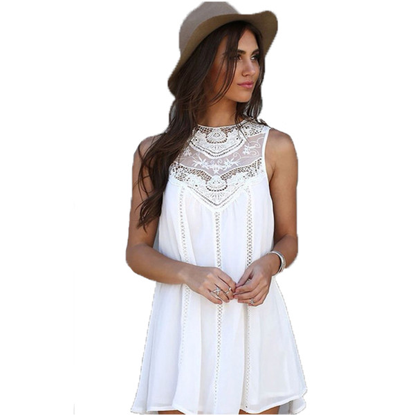 Sexy Short White Lace Patchwork Chiffon Mini Dress for Woman 2019 Summer New Arrival Sleeveless Mini Beach Dress Plus Size