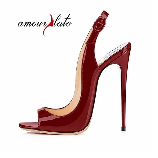 Amourplato Women's 12cm Stilettos Open Toe Slingback High Heel Sandals Peep Toe Ankle Strap Dress Shoes Black Beige Size US5-13