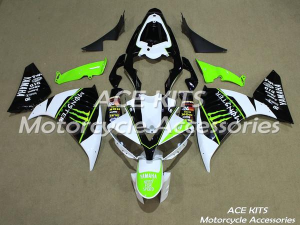 ACE Motocicleta Carenagens Para YAMAHA YZF R1 2013-2014 Compressão ou Injeção Carroçaria pomposo preto verde branco + TANQUE No.1179