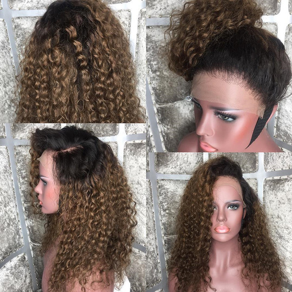 Ombre #1bT30 Full Lace Human Hair Wigs Curly Peruvian Remy Hair Wig 180% Density Two Tone Dark Brown Color with Baby Hair