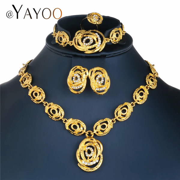 AYAYOO African  Jewelry Set Statement Flower Necklace Sets For Women Imitation Crystal Women Wedding Jewelry Set