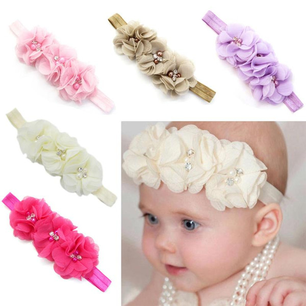 UK Seller NEW Beautiful Chiffon /& Ribbon Diamante Flower Baby Headband