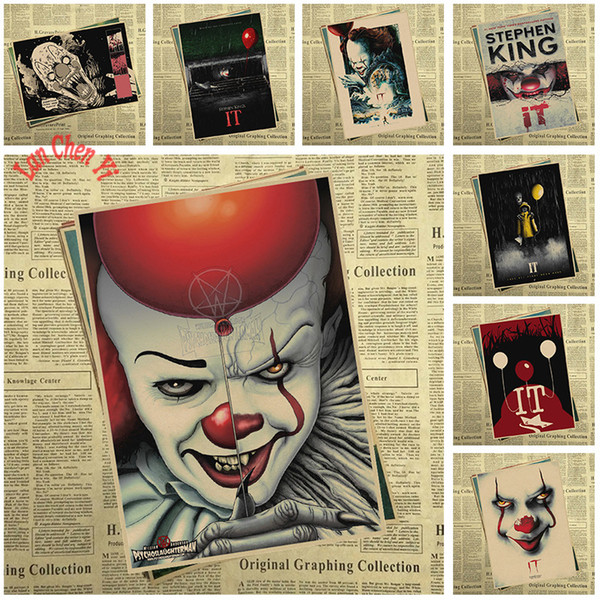 Horror film Stephen King's It Kraft Paper Poster Bar Cafe Vintage High quality Printing Drawing core Decorative Painting