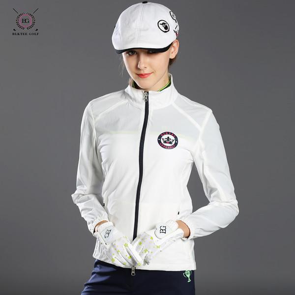 top popular 2017 Autumn women golf jacket outdoor sports coat lady slim zipper short coat top quality 3 colors girl golf gersey shirt 2019