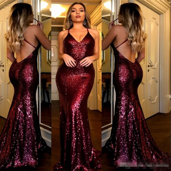 Sexy Burgundy Prom Dresses V Neck Criss Cross Backless Bling Mermaid 2018 Gold Sequins Evening Dress Cheap Bridesmaid Dress BA7126