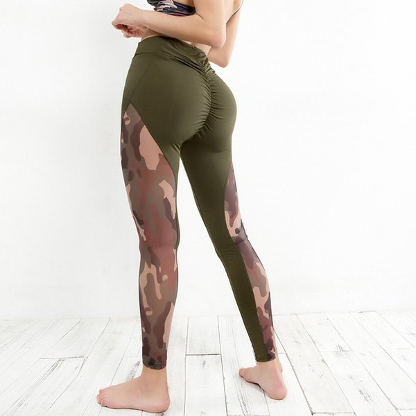Hot Sale Hip Push UP Yoga Jogging Slim Trousers Mesh Splicing High Waist Sexy Girls Fitness Legging Camouflage Skinny Women Yoga PantsYP31