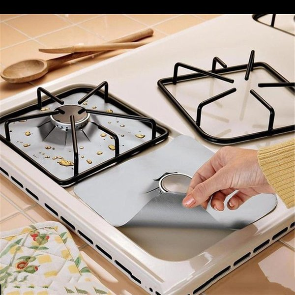 Reusable Aluminum Foil Gas Stove Burner Cover Remove Surface Oil Stains Barbecue Mat Anti Sticky Clean Pad 4 pcs