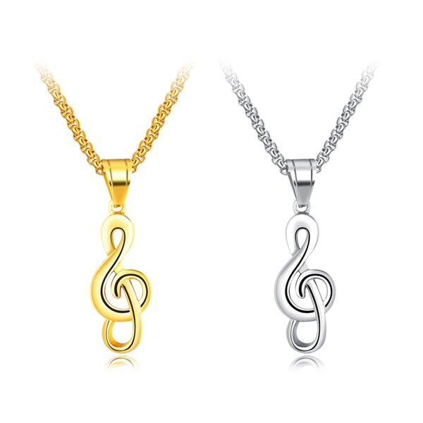 New Arrival Creative music symbol Men's Hip hop Stainless Steel pendant necklaces fashon Jewelry making for men gifts free shipping GX1285