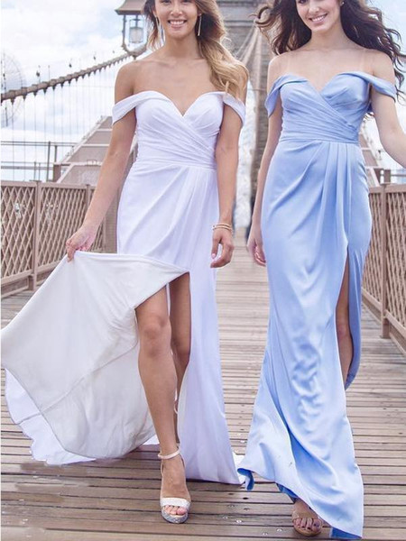 Charming Off Shoulder Light Blue Mermaid Long Bridesmaid Dresses 2018 New Arrival Side Slit Evening Prom Dress Custom Made Bridesmaid Gowns