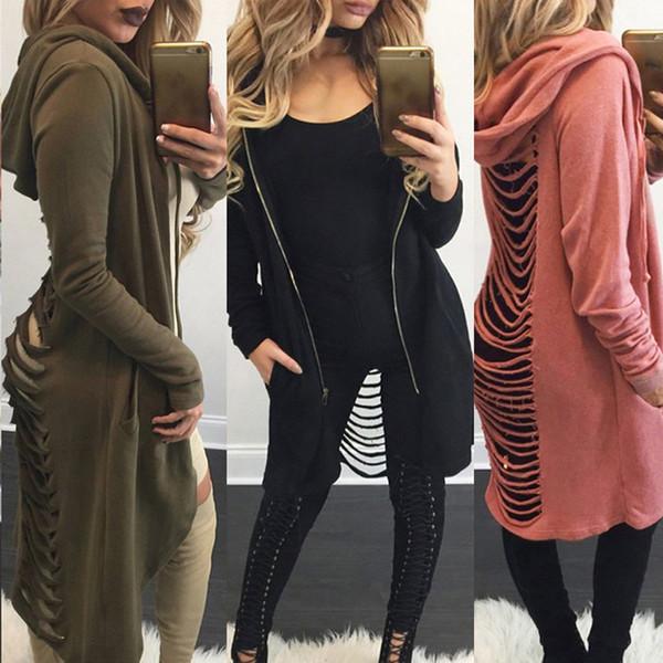 New 2018 Gothic Femmes Dames Cut Out Cardigan Long Rip Back Manteau À Capuche Pull