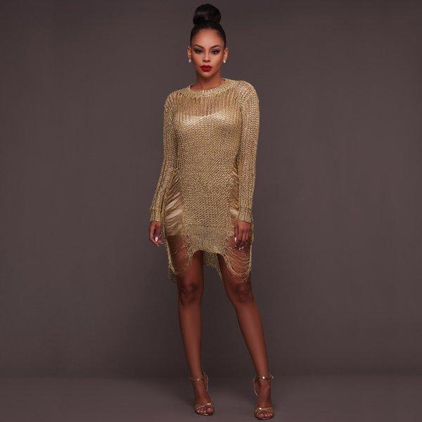 7158b37905 Gold Metallic Knitted Shredded Sweater Dress Popular Stretch Sexy Ladder  Cut-Out Metallic Sequins Dress