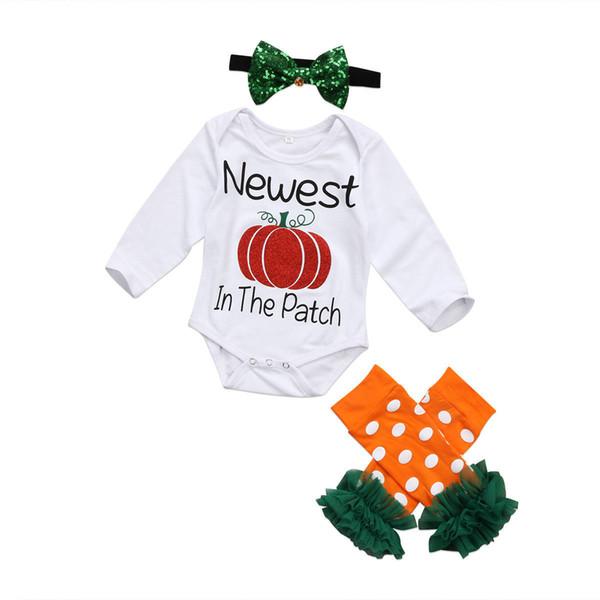 Cadılar bayramı bebek giysileri pamuk kabak romper bacak isıtıcı bandı 3-piece set kıyafet nokta mektubu baskı sevimli uzun kollu onesies çocuk giyim