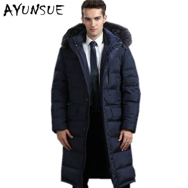 Men's Winter Jacket 2017 Hot Sale Warm White Goose Down Man Coat Thick Long Hood Pure Raccoon Fur Collar Parkas Plus Size HJ374