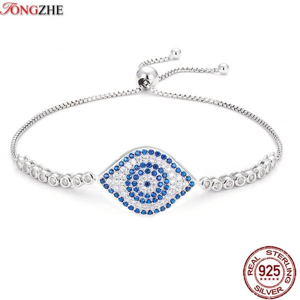 TONGZHE Pulseras para mujeres 2018 Moda 925 Joyas de plata esterlina Pulsera de los hombres Cubic Zircon Blue Evil Eye Bracelet 22 * 15mm