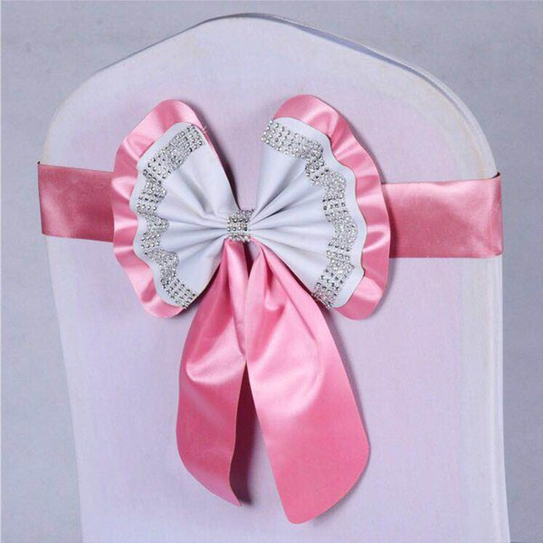 20PCS Short Bow Chair Sashes With Diamond Crystal Elastic Chair Covers Band Hotel Banquet Party Wedding Decoration Bows Stretch Bands
