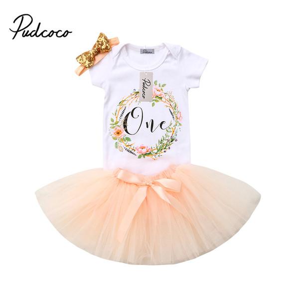 3pcs/set Infant Baby Girl Flower T-Shirt Tops Romper Bodysuit Tulle Tutu Dress Skirt Headband Outfit Baby Girls Birthday Clothes