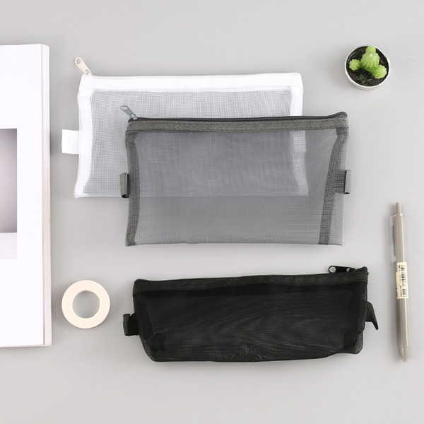 Простой чистый цвет нейлон марлевые конверт многофункциональный прозрачный молния мешок марлевые ручки мешок сетки ручки коробки-LH-BD