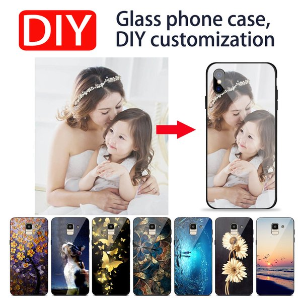 For iPhone 6 6s 7 8 plus X XS MAX XR Luxury DIY Personalized customized name photo print picture tempered glass phone case cover