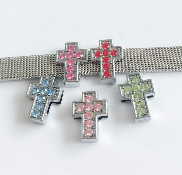 10pcs Mixed color 8MM Full Rhinestone Cross Slide Charms Beads DIY Accessories Fit 8mm Collar Belts Bracelets