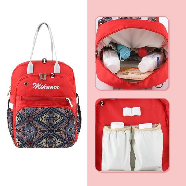Ethnic Women Diaper Bag Multi-functional Large Capacity Baby Stroller Bag National Style Maternity Nappy Backpack Organizer