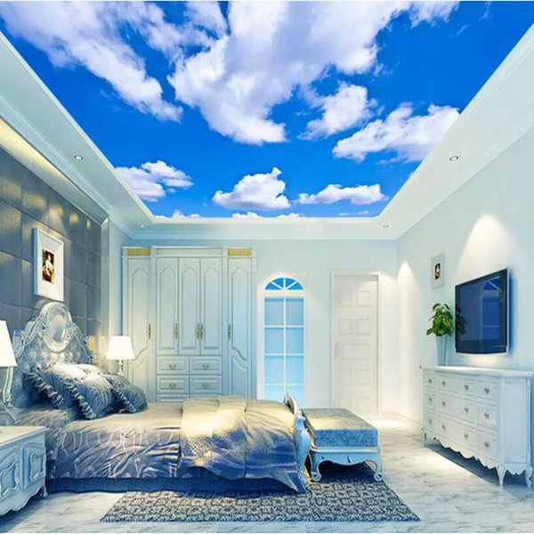YOUMAN 3d Modern Custom High Quality Photo Wallpaper Painting Blue Sky White Clouds Ceiling Modern Designs Ceiling Wallpaper