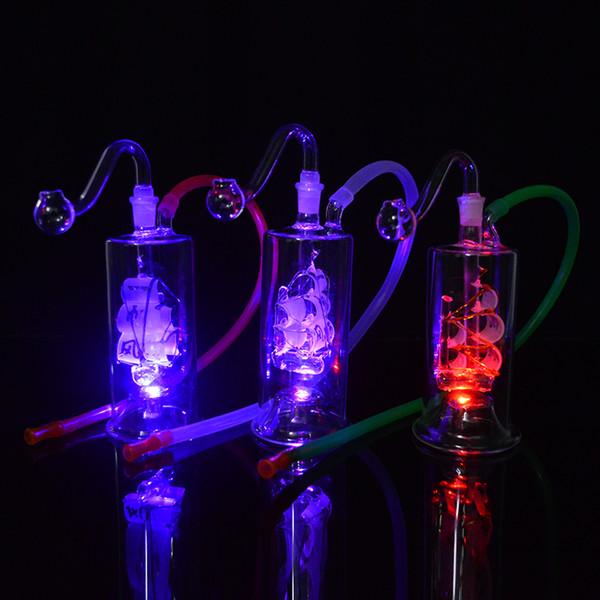Barco de vela Luz LED Bong Plataformas de aceite Agua de vidrio Tubería Bong Velero Hookah 10 mm Conjunto Dab Rig 5