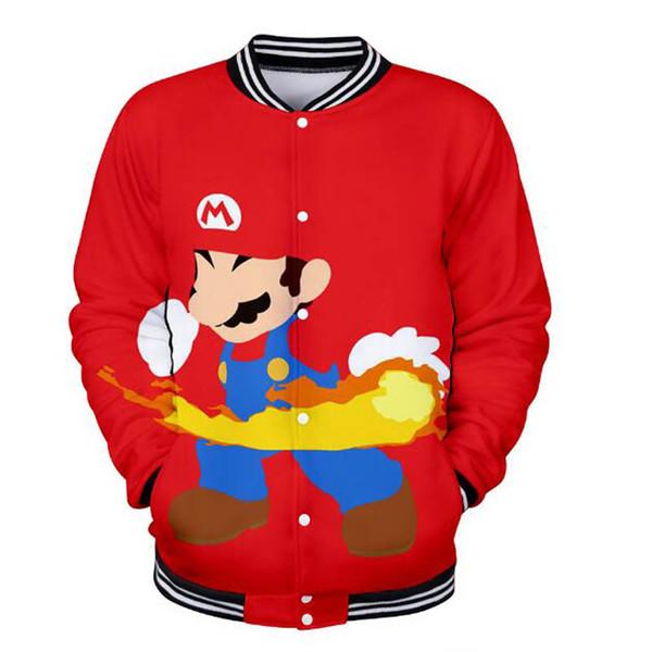 Juego caliente Super Mary Jacket Abrigos de béisbol divertidos Mario Impresión 3D Harajuku hip hop Invierno Streetwear Chaqueta de béisbol wangcangli