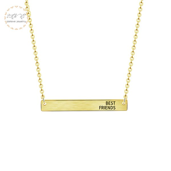 Sideways BEST FRIENDS Bar Pendant Necklace For Women Men Friendship Jewelry Gifts Stainless Steel Chain Collier Femme Rose Gold