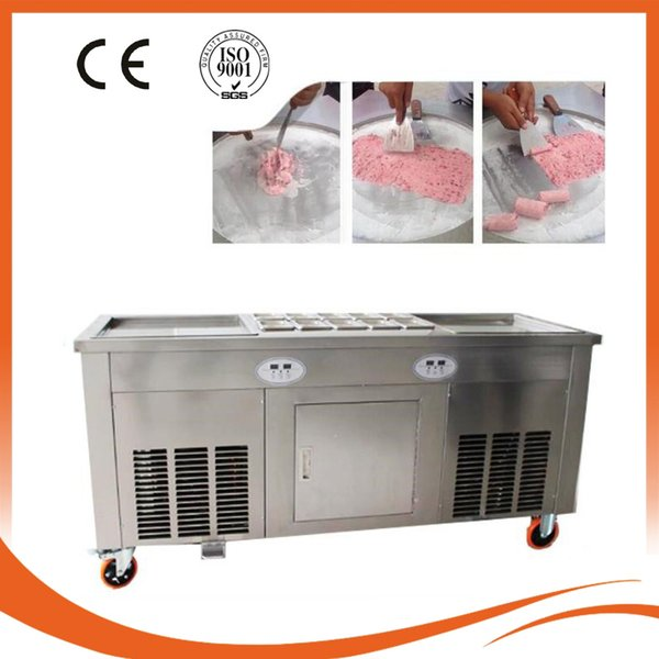 Free Shipping / Double Pan Fried Ice Machine Smart Thai Fried Ice Cream Machine Roll Ice Cream Machine 110 v/220 v