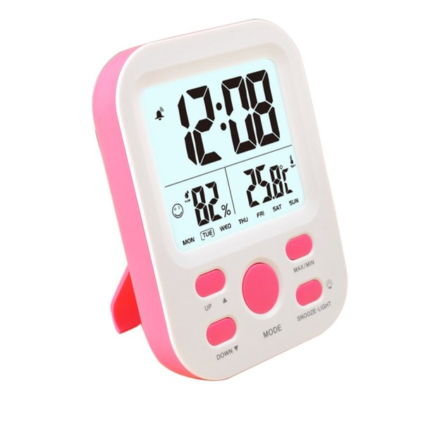 LCD Large Display Digital Alarm Clock Battery Operated With Time Date Temperature Humidity Week 12/24h Display Snooze Function