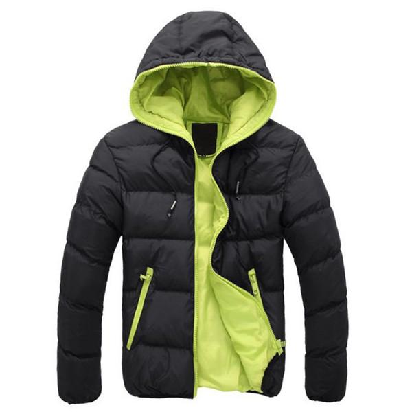2018 Winter Fashion Brand Plus Size Giacca da uomo Solid Parka Streetwear Cappuccio spessa trapuntato Giacca a palloncino Cappotto uomini vestiti