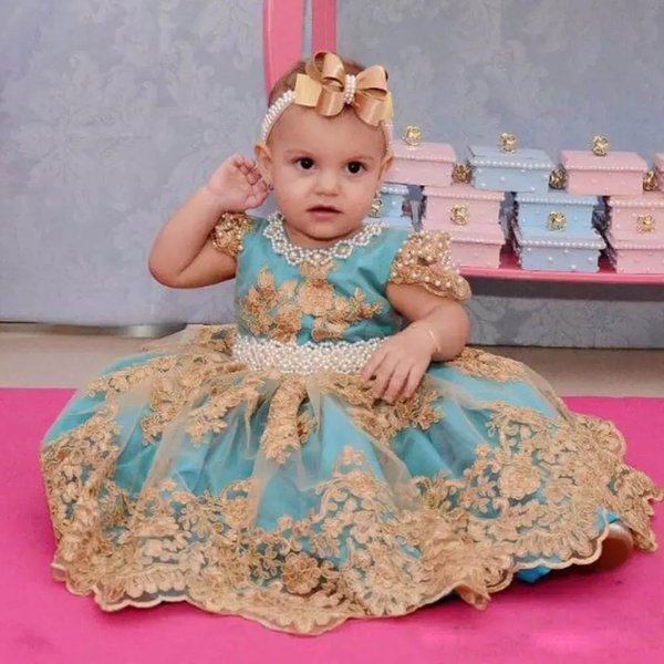 Charming Ball Gown Ankle Length Toddler Christening Dresses Jewel Neck Short Sleeve Pearl Kid's Birthday Party Gown Bow Tie Prom Skirt