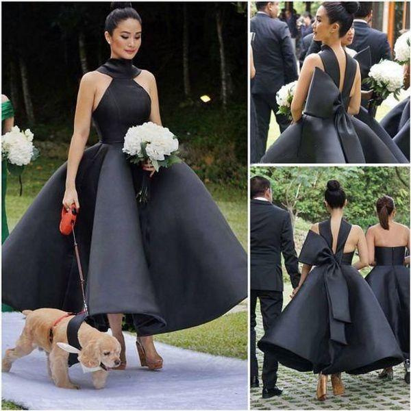 Nova Chegada Sexy vestido de Baile Ruffles Vestidos de Casamento Da Dama De Honra Sem Mangas Alta Arco Grande Prom Coquetel Vestidos de Festa Vestido de Chá Comprimento
