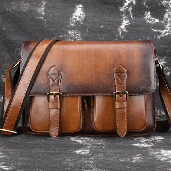 BULLCAPTAIN Men Oil Wax Cowhide Cross Body Bag Vintage High Quality Business Briefcase Wipe color Men Shoulder Messenger Bag