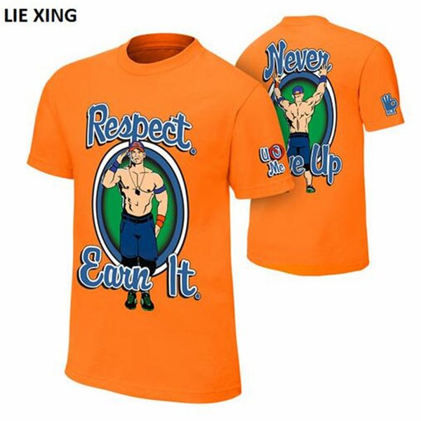 2018 neue T-Shirt Männer Wrestling John Seth Sr Rollins Cena Respekt. Verdien es dir. Orange Blue Mode Herren T-Shirt