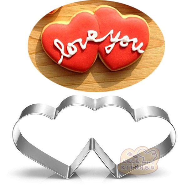 10pcs Wedding double heart cookie cutter Metal biscuit tool Fruit die cut Sushi stamp sandwich mold baking cake pastry tools cupcake topper