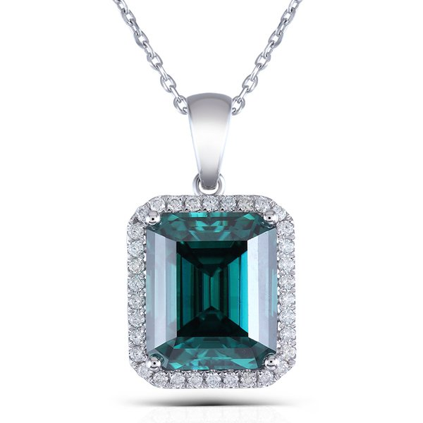 "Transgems 14K White Gold 10X12mm Emerald Moissanite Pendant Necklace With COMPLIMENTARY 18"" 14K White Gold ChainX82301"