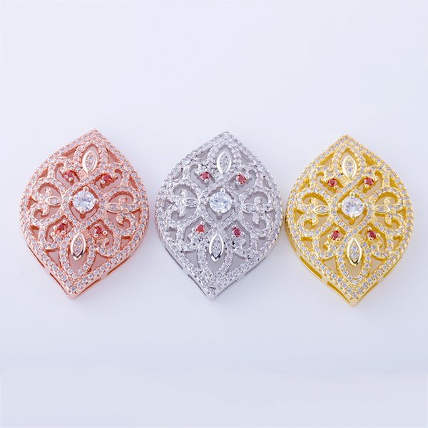 Wholesale Handmade DIY Jewelry Accessories Embellishments Findings Micro Pave Components Zircon Crystal Flower Pattern Connectors Charms Fit