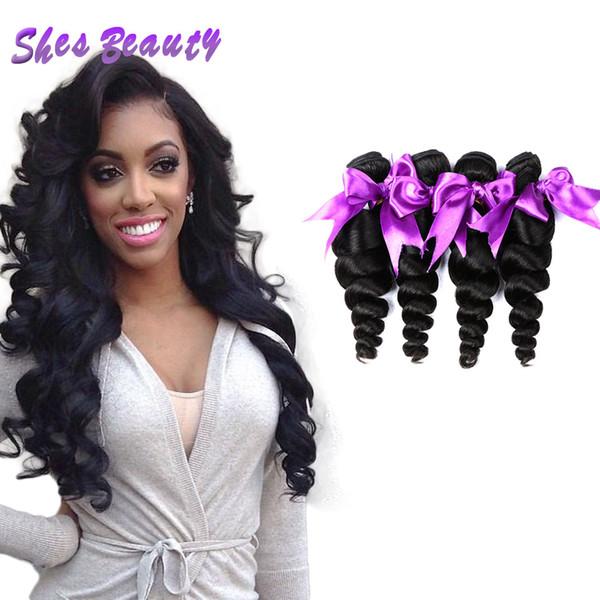 Shesbeauty 8A Indische Lose Welle 4 Stücke 100% Unverarbeitetes Menschenhaar Extensions Großhandel Lose Locken Reine Haar Spinnt Natürliche Farbe